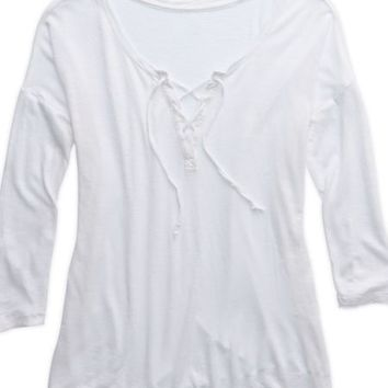 Aerie Women's Comfy Lace-up T-shirt