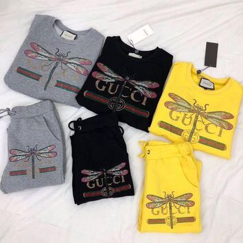 DCCK6HW Gucci' Women Casual Fashion Hot Fix Rhinestone Dragonfly Letter Pattern Long Sleeve Cotton Sweater Trousers Set Two-Piece Sportswear