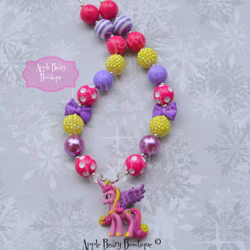 Princess Cadance Chunky Necklace My Little Pony Chunky necklace Cadance Bubblegum Necklace Pony Bubblegum Necklace Little Pony Necklace