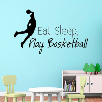 Eat Sleep Play Basketball Wall Decal Quote Sport Stickers Boys Room Vinyl Decals Bedroom Wall Design Basketball Art Living Room Decor KY123
