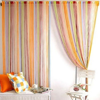 1pcs Modern Low-elastic yarn 7 Mixed Colors Line String Window Curtain Cortinas Window Curtains 200cm x 100 cm