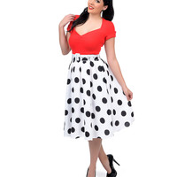 1950s Style Black & White Large Polka Dot High Waisted Swing Skirt