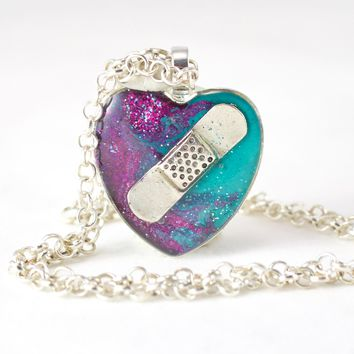 Purple & Teal Bandaid Necklace