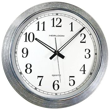 "Timekeeper 16"" Galvanized Metal Silver Wall Clock"