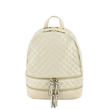 White Metallic Quilted Backpack