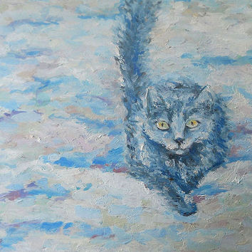 "Kitty, Birthday, Anniversary, Wedding, Home Decor,""To the First Snow!"", Canvas, Hardboard, Gift, Modern Art, Original Oil Painting, Impasto"