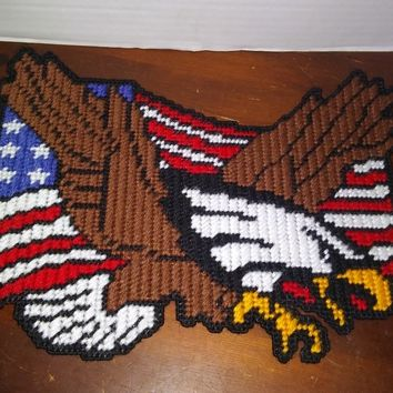 plastic canvas patriotic eagle with american flag wall door hanging decor