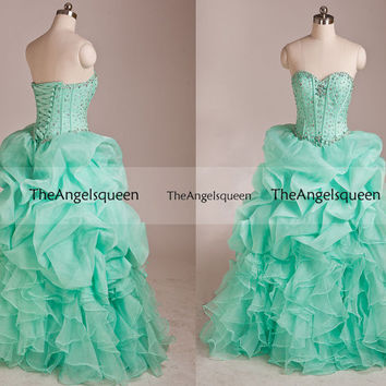Pageant Cascade Layers Mint Strapless All Beads Corset Tulle Long Prom evening Gowns,Bridesmaid dresses,Senior dress,evening dresses