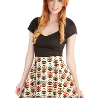 ModCloth Owls Short Length A-line Aviary Afternoon Skirt