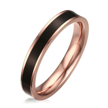 Enamel Polished Stainless Steel Ring