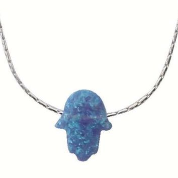 Large Opal Blue Hamsa With Silver Necklace