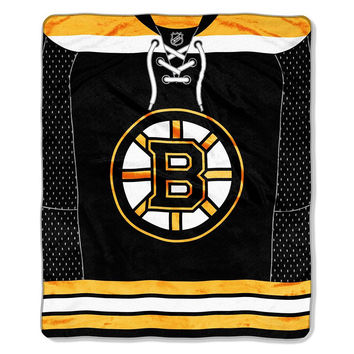 Boston Bruins NHL Royal Plush Raschel Blanket (Jersey Series) (50x60)