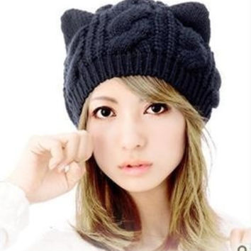 Cat Ears Cute Hats for women knitting warm fashion Beanies Winter knitted Cap(one size) = 1929667780
