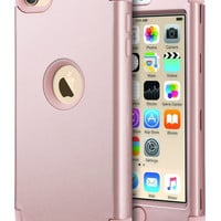 iPod 6 CaseiPod Touch 6 CaseULAK Heavy Duty High Impact KNOX ARMOR Case Cover Protective Case for Apple iPod touch 5 6th Generation (Rose Gold) Rose Gold + Rose Gold