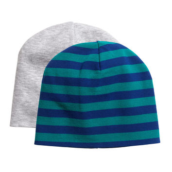 H&M - 2-pack Hats - Grey/Blue stripe - Kids