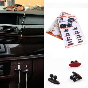 8Pcs Lot Car Wire Cable Holder Tie Clip Fixer Organizer Adhesive Car Charger Line Clasp Clamp USB Cable Car Clip Accessories