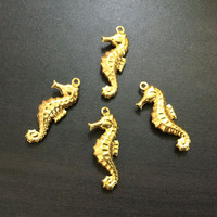 Charms Gold Plated Brass | Jewelry Making| Pendant Necklace Bracelet | Earrings | Gold finding | Necklace Keychain Seahorse 9x24mm 4pcs CH33