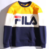 FILA Long Sleeve Round Neck Pullover Splicing Fashion Casual Sweater