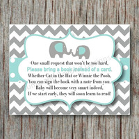 Elephant Book Instead of Card Request Insert INSTANT DOWNLOAD Light Teal Grey Digital Book Request Insert Card Baby Shower Chevron DIY - 004