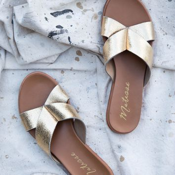 Wise Slide On Sandal, Gold | Coconuts By Matisse