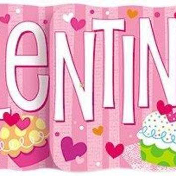 4.5ft Cupcake Hearts Valentine's Day Jointed Banner