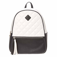 Faux Leather Black And White Tassel Backpack