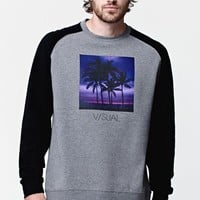 Visual by Van Styles Close Raglan Crew Neck Sweatshirt - Mens Hoodie - Grey