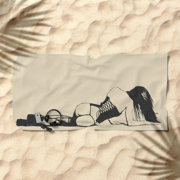 Sexy fetish erotic, hot brunette girl in high heels, stockings and latex corset, perfect body Beach Towel by Peter Reiss
