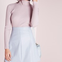 Missguided - Faux Leather A Line Mini Skirt Light Blue