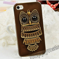 Handmade Simple retro style Antique copper owl phone case for iPhone 4 or Bling iphone 4s cover
