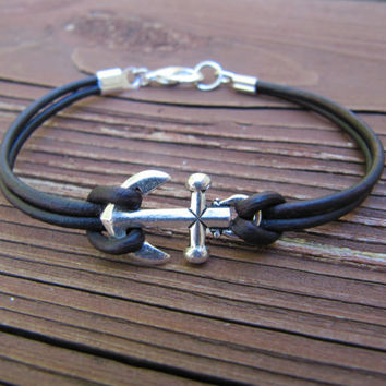 Nautical Silver Anchor Rustic Brown Leather Single Wrap Bracelet