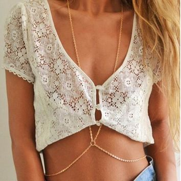 Gold Body Chain Necklace, Bikini Belly Harness