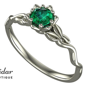 Flower Engagement Ring,Unique Engagement Ring,diamond Engagement Ring,Leaves,Lotus,Emerald Engagement Ring,floral,swirl,White gold Ring