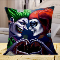 "Harley Quinn and The Joker Face2Face on square pillow cover 16"" 18"" 20"""