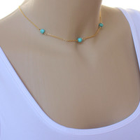 3 Turquoise Necklace - Gypsy Bohemian Hippie Hipster-Gold plated Necklace