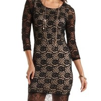 Black Combo Open Back Lace Overlay Bodycon Dress by Charlotte Russe