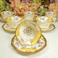 6 Coalport Porcelain Cups & Saucers Y2480 Floral Yellow Panel Gold Encrusted