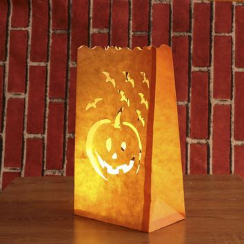 12pcs Halloween Paper Candle Luminary Bag Bat Pumpkin Carved Tea Light Holder Bag for Happy Halloween Decoration