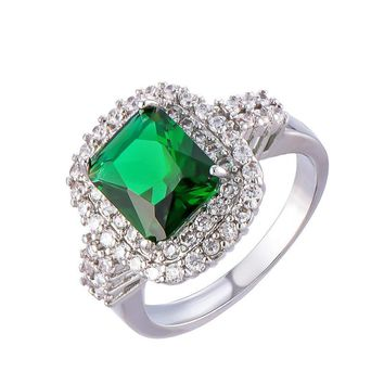 2017 new fashion women's jewelry green zircon ring pop style unique woman engagement jewelry silver crystal ring