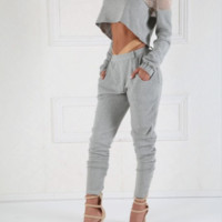 Grey Sporty Luxe Trousers