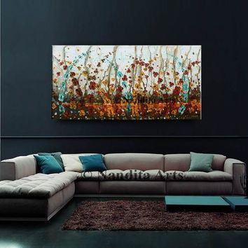 "Floral Painting, Flower Wall Art 48"" Abstract Colorful wild flower painting still life oil painting on canvas home decor by Contemporary Art"