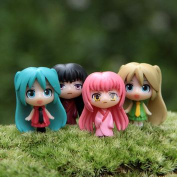 4pcs/lot Action Figure Hatsune Miku K-ON Microscopic 3cm PVC Micro Landscape ornament cartoon Cute decoration Doll Model Anime