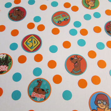 Scooby Doo Party Confetti - Teal Blue and Orange Scooby Doo Party Confetti -