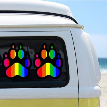 8.9*12.7 CM Gay Pride Rainbow Paw LGBT Bear Dog Pet Car Bumper Vinyl Sticker Decal