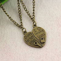 lovers necklace-- don't forget me&I want you pendant,antique bronze charm necklace,alloy chain,love jewelry,2 in1
