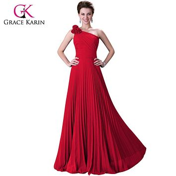 2017 Grace Karin Blue/Red /Green/Purple One Shoulder Long Prom Dresses Pleated Formal Evening Gowns Homecoming Dress 3467