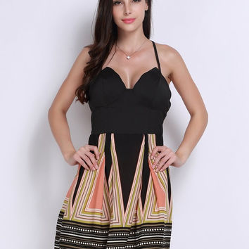 Women Sexy Backless Geometric Pattern Camisole Zipper Mini Dress