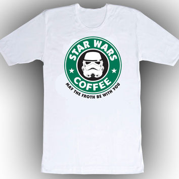 Brand New T-shirt Star Wars Starbucks May The Froth Be With You