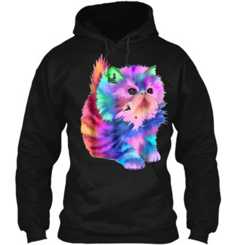 Colorful Cute Funny Rainbow Kitten Cat  Pullover Hoodie 8 oz