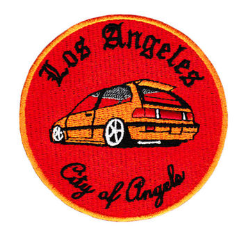 "ON SALE 15% OFF Vintage 90's Style Los Angeles ""City of Angels"" Import Low Rider Jdm Street Racer Car Racing Shirt Patch Badge 9cm Applique"